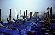 Venice Photos - Gondolas In Venice In The Morning by Michael Henderson