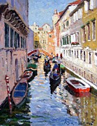 Classic Architecture Prints - Gondolas in Venice Print by Roelof Rossouw