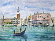 Marco Painting Framed Prints - Gondolas near Piazza San Marco in Venice Italy Framed Print by Bonnie Sue Schwartz