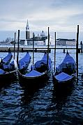 Gondolier Framed Prints - Gondolas of Venice Framed Print by Traveler Scout
