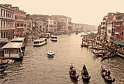Rialto Prints - Gondolas on the Grand Canal Print by Linda  Parker