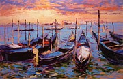 Italian Sunset Originals - Gondolas by R W Goetting
