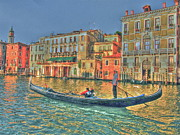 Gondola Digital Art Prints - Gondolier Dream Ride Print by Alberta Brown Buller