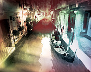 Towns Digital Art - Gondolier Gondoliere by Monica Ghit