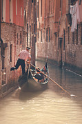 Gondolier Framed Prints - Gondolier Riding Gondola In Venice Framed Print by Nico De Pasquale Photography