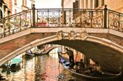 Gondolier Prints - Gondolier under a bridge Print by Alberta Brown Buller