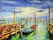 Po-po Paintings - Gondolla Venice by Conor McGuire