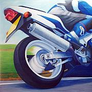 Racer Painting Posters - Gone - Suzuki GSX1000 Poster by Brian  Commerford
