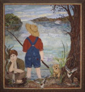Nostalgic Tapestries - Textiles Prints - Gone Fishin Print by Kathy McNeil