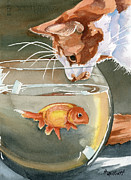 Fish Bowl Prints - Gone Fishin Print by Marsha Elliott