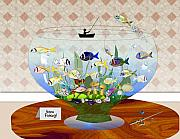 Fishbowl Framed Prints - Gone fishing Framed Print by Arline Wagner