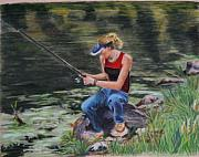 Figures Pastels - Gone Fishing by Barbara  Peterson