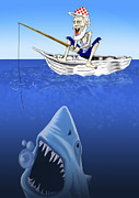 Sharks Digital Art Originals - Gone fishing by Ivan Sabolic