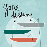 Fishing Boats Posters - Gone Fishing Poster by Linda Woods