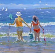 Vacations Painting Prints - Gone Fishing  Print by William Ireland