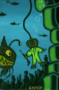 Scuba Paintings - Gone Fishn by Dan Keough