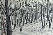 Winter Trees Painting Metal Prints - Gone Metal Print by Pete Maier