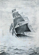 Tall Ship Drawings Prints - Gone With The Wind Print by Farah Faizal