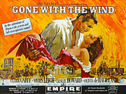 1930s Posters - Gone With The Wind, From Left Clark Poster by Everett