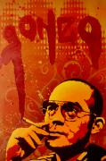 Spray Paint Painting Prints - Gonzo - Hunter S. Thompson Print by Iosua Tai Taeoalii
