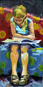 Young Girl Reading Paintings - Good Book by Barbara Pedersen