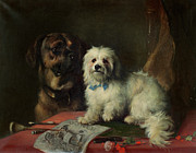 Two Dogs Framed Prints - Good Companions Framed Print by Earl Thomas