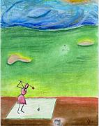 Golf Pastels Posters - Good for the Drive Poster by Calli L