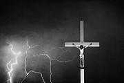 Lightning Bolts Prints - Good Friday - Crucifixion of Jesus BW Print by James Bo Insogna