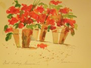 Red Geraniums Mixed Media Prints - Good Friday Flowers Print by Jill Morris