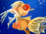 Water Acrylic Prints - Good Luck Goldfish by Samantha Lockwood