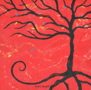 Finance Painting Originals - Good Luck Tree - Right by Kristi L Randall