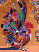 Colorful Rooster Posters - Good Morning Poster by Bob Coonts