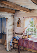 Log Cabin Art Paintings - Good Morning Mr. Lincoln by Amy Caltry