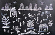 Handmade Paper Prints Prints - GOOD MORNING-Warli painting Print by Aboli Salunkhe