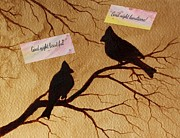 Birds On A Branch Posters - Good Night My Love digital art Poster by Georgeta  Blanaru