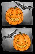 Bad Drawing Digital Art Posters - Good Pumpkin - Bad Pumpkin Poster by Claudia Pflicke