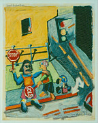 Urban Scenes Drawings - Good Samaritans by David Martin