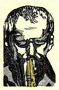 Linocut Prints - Good Sax Print by John Brisson