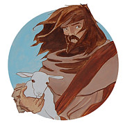 Parable Drawings Posters - Good Shepherd 2 Poster by Miguel De Angel