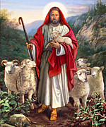 Christian Mythology Prints - Good Shepherd Print by Valerian Ruppert