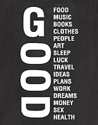 Typography Posters - Good Things Poster by Linda Woods