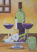 Wine Bottles Pastels - Good Times by Joanna Smith