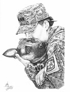 Troops Drawings Prints - Goodbye Kiss Print by Murphy Elliott