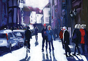 Crowds Paintings - Goodramgate Contrajour by Neil McBride