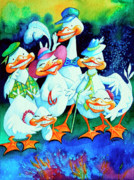 Children Book Illustrator Prints - Goofy Gaggle of Grinning Geese Print by Hanne Lore Koehler