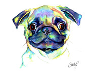 Fawn Pug Paintings - Google Eyed Pug by Christy  Freeman