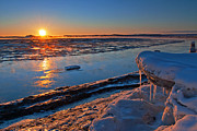Snow. Ocean Prints - Goose Bay Icicles Print by Ron Day