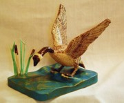 Woodcarving Sculpture Originals - Goose Landing by Russell Ellingsworth