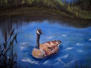 Geese Paintings - Goose by Leslie Allen