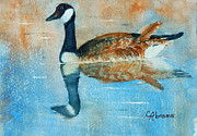 Geese Paintings - Goose reflection by Claire  Abrams